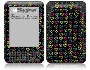 Kearas Hearts Black - Decal Style Skin fits Amazon Kindle 3 Keyboard (with 6 inch display)