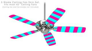 Psycho Stripes Neon Teal and Hot Pink - Ceiling Fan Skin Kit fits most 42 inch fans (FAN and BLADES SOLD SEPARATELY)