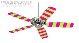 Psycho Stripes Neon Green and Hot Pink - Ceiling Fan Skin Kit fits most 42 inch fans (FAN and BLADES SOLD SEPARATELY)
