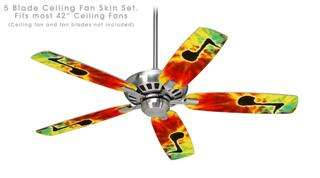 Tie Dye Music Note 100 - Ceiling Fan Skin Kit fits most 42 inch fans (FAN and BLADES SOLD SEPARATELY)