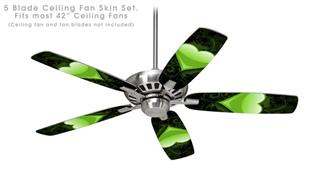 Glass Heart Grunge Green - Ceiling Fan Skin Kit fits most 42 inch fans (FAN and BLADES SOLD SEPARATELY)