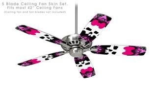 Pink Diamond Skull - Ceiling Fan Skin Kit fits most 42 inch fans (FAN and BLADES SOLD SEPARATELY)