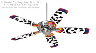Rainbow Plaid Skull - Ceiling Fan Skin Kit fits most 42 inch fans (FAN and BLADES SOLD SEPARATELY)