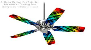 Rainbow Plaid - Ceiling Fan Skin Kit fits most 42 inch fans (FAN and BLADES SOLD SEPARATELY)