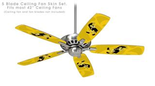 Iowa Hawkeyes Herky on Gold - Ceiling Fan Skin Kit fits most 42 inch fans (FAN and BLADES SOLD SEPARATELY)