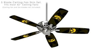 Iowa Hawkeyes Herkey Gold on Black - Ceiling Fan Skin Kit fits most 42 inch fans (FAN and BLADES SOLD SEPARATELY)
