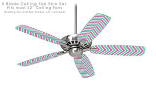 Zig Zag Teal Green and Pink - Ceiling Fan Skin Kit fits most 42 inch fans (FAN and BLADES SOLD SEPARATELY)