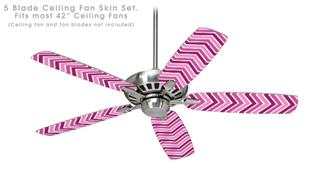 Zig Zag Pinks - Ceiling Fan Skin Kit fits most 42 inch fans (FAN and BLADES SOLD SEPARATELY)