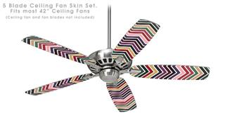 Zig Zag Colors 02 - Ceiling Fan Skin Kit fits most 42 inch fans (FAN and BLADES SOLD SEPARATELY)