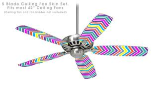 Zig Zag Colors 04 - Ceiling Fan Skin Kit fits most 42 inch fans (FAN and BLADES SOLD SEPARATELY)