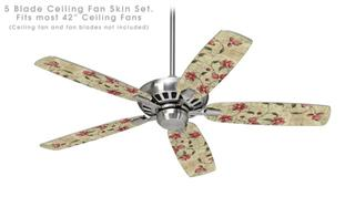 Flowers and Berries Red - Ceiling Fan Skin Kit fits most 42 inch fans (FAN and BLADES SOLD SEPARATELY)