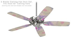 Pastel Abstract Pink and Blue - Ceiling Fan Skin Kit fits most 42 inch fans (FAN and BLADES SOLD SEPARATELY)