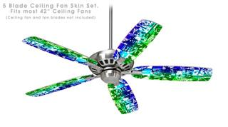 Rainbow Graffiti - Ceiling Fan Skin Kit fits most 42 inch fans (FAN and BLADES SOLD SEPARATELY)