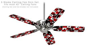 Checker Graffiti - Ceiling Fan Skin Kit fits most 42 inch fans (FAN and BLADES SOLD SEPARATELY)