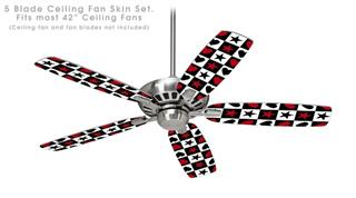 Hearts and Stars Red - Ceiling Fan Skin Kit fits most 42 inch fans (FAN and BLADES SOLD SEPARATELY)