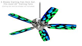Rainbow Leopard - Ceiling Fan Skin Kit fits most 42 inch fans (FAN and BLADES SOLD SEPARATELY)