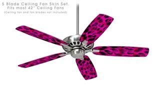 Pink Distressed Leopard - Ceiling Fan Skin Kit fits most 42 inch fans (FAN and BLADES SOLD SEPARATELY)