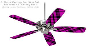 Pink Plaid - Ceiling Fan Skin Kit fits most 42 inch fans (FAN and BLADES SOLD SEPARATELY)