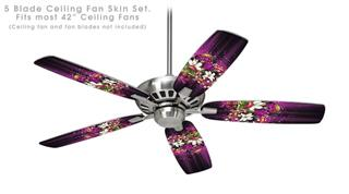 Grungy Flower Bouquet - Ceiling Fan Skin Kit fits most 42 inch fans (FAN and BLADES SOLD SEPARATELY)