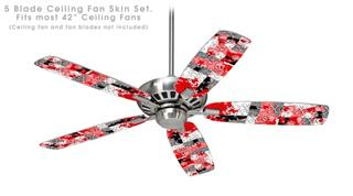 Checker Skull Splatter Red - Ceiling Fan Skin Kit fits most 42 inch fans (FAN and BLADES SOLD SEPARATELY)