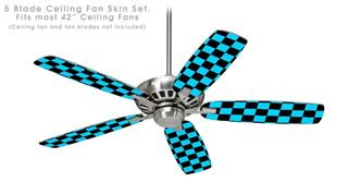 Checkers Blue - Ceiling Fan Skin Kit fits most 42 inch fans (FAN and BLADES SOLD SEPARATELY)