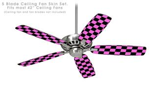 Checkers Pink - Ceiling Fan Skin Kit fits most 42 inch fans (FAN and BLADES SOLD SEPARATELY)