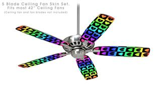 Love Heart Checkers Rainbow - Ceiling Fan Skin Kit fits most 42 inch fans (FAN and BLADES SOLD SEPARATELY)