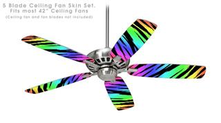 Tiger Rainbow - Ceiling Fan Skin Kit fits most 42 inch fans (FAN and BLADES SOLD SEPARATELY)