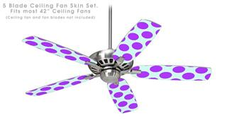 Kearas Polka Dots Purple And Blue - Ceiling Fan Skin Kit fits most 42 inch fans (FAN and BLADES SOLD SEPARATELY)