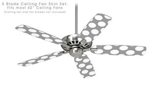 Kearas Polka Dots Whtie On Gray - Ceiling Fan Skin Kit fits most 42 inch fans (FAN and BLADES SOLD SEPARATELY)