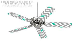 Chevrons Gray And Turquoise - Ceiling Fan Skin Kit fits most 42 inch fans (FAN and BLADES SOLD SEPARATELY)