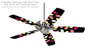 Plain Leaves On Black - Ceiling Fan Skin Kit fits most 42 inch fans (FAN and BLADES SOLD SEPARATELY)