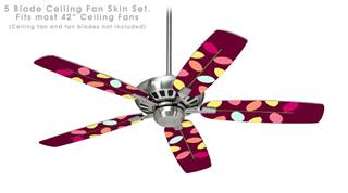 Plain Leaves On Burgundy - Ceiling Fan Skin Kit fits most 42 inch fans (FAN and BLADES SOLD SEPARATELY)