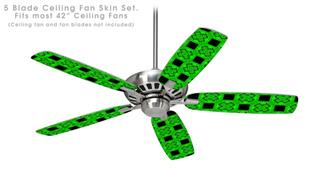 Criss Cross Green - Ceiling Fan Skin Kit fits most 42 inch fans (FAN and BLADES SOLD SEPARATELY)