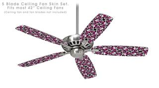 Splatter Girly Skull Pink - Ceiling Fan Skin Kit fits most 42 inch fans (FAN and BLADES SOLD SEPARATELY)