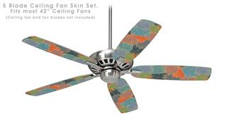 Flowers Pattern 03 - Ceiling Fan Skin Kit fits most 42 inch fans (FAN and BLADES SOLD SEPARATELY)