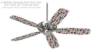 Locknodes 05 Red Dark - Ceiling Fan Skin Kit fits most 42 inch fans (FAN and BLADES SOLD SEPARATELY)