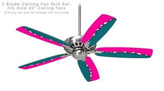 Ripped Colors Hot Pink Seafoam Green - Ceiling Fan Skin Kit fits most 42 inch fans (FAN and BLADES SOLD SEPARATELY)