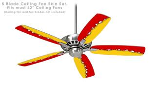 Ripped Colors Red Yellow - Ceiling Fan Skin Kit fits most 42 inch fans (FAN and BLADES SOLD SEPARATELY)