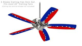 Ripped Colors Blue Red - Ceiling Fan Skin Kit fits most 42 inch fans (FAN and BLADES SOLD SEPARATELY)
