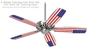 USA American Flag 01 - Ceiling Fan Skin Kit fits most 42 inch fans (FAN and BLADES SOLD SEPARATELY)