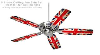 Painted Faded and Cracked Union Jack British Flag - Ceiling Fan Skin Kit fits most 42 inch fans (FAN and BLADES SOLD SEPARATELY)