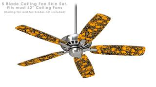 Scattered Skulls Orange - Ceiling Fan Skin Kit fits most 42 inch fans (FAN and BLADES SOLD SEPARATELY)