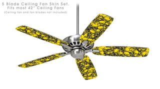 Scattered Skulls Yellow - Ceiling Fan Skin Kit fits most 42 inch fans (FAN and BLADES SOLD SEPARATELY)