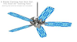 Skull And Crossbones Pattern Blue - Ceiling Fan Skin Kit fits most 42 inch fans (FAN and BLADES SOLD SEPARATELY)