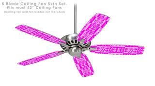 Skull And Crossbones Pattern Pink - Ceiling Fan Skin Kit fits most 42 inch fans (FAN and BLADES SOLD SEPARATELY)