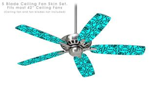 Skull Patch Pattern Blue - Ceiling Fan Skin Kit fits most 42 inch fans (FAN and BLADES SOLD SEPARATELY)