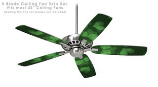 Bokeh Hearts Green - Ceiling Fan Skin Kit fits most 42 inch fans (FAN and BLADES SOLD SEPARATELY)