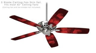 Bokeh Hearts Red - Ceiling Fan Skin Kit fits most 42 inch fans (FAN and BLADES SOLD SEPARATELY)
