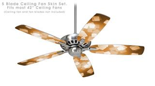 Bokeh Squared Orange - Ceiling Fan Skin Kit fits most 42 inch fans (FAN and BLADES SOLD SEPARATELY)